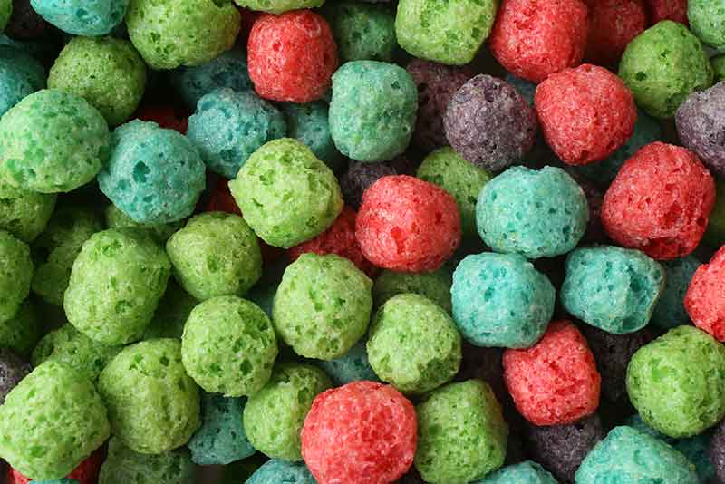 Close-up of colorful breakfast cereal
