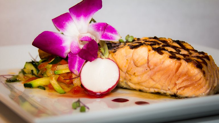 Oven Roasted Salmon with Red Beet Beurre Blanc and Miso Sauce