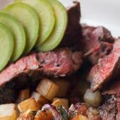Marinated Hanger Steak with Chimichurri Sauce and Bacon, Potato and Vegetable Hash