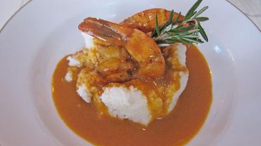 BBQ Shrimp with Vermont Cheddar Grits and Chorizo Sausage