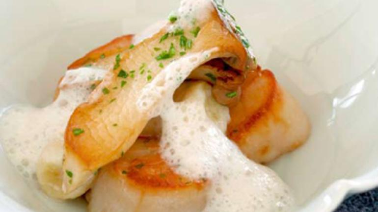Nantucket Bay Scallops and Soba Gnocchi with Celery Root Foam