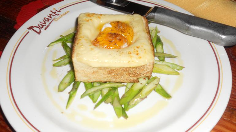 Truffle egg toast, fontina and asparagus
